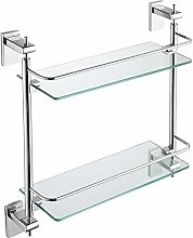 GDFEH Shower Shelf 2 Tier Glass Bathroom Stainless