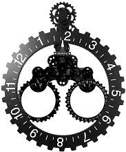 Gear Wheel Wall Clock Big Hour Year Month Black