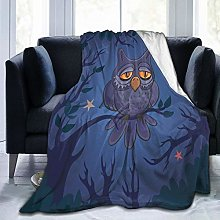 GEHIYPA Comfortable fine flannel blanket,An Owl On
