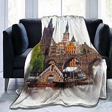 GEHIYPA Comfortable fine flannel blanket,Prague