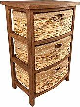 Geko Dark Brown Three Basket Tall Cabinet 57cm,