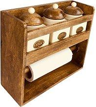 Geko Kitchen Roll Holder with 3 Jars, Wood,