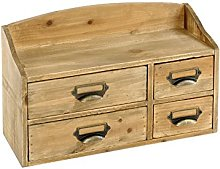 Geko Shabby Chic Small Wooden Cabinet 4 Drawers,