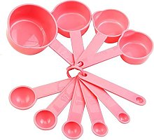Gemini_mall Pink Measuring Cups and Spoons Set -