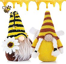 genenic 2Pcs Spring Bumble Bee Elf Gnomes Knitted