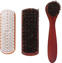 Generic 3PCS Shoes Polish Brushes Wooden Horsehair