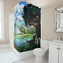 Generic Branded Forest Dog Shower Curtain With