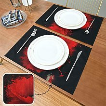 Generies Colored Placemats Three Red Poppy On