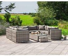 Geneva 2: Rattan Garden Sofa Set in Grey