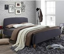 Geneva Fabric King Size Bed In Dark Grey With Oak