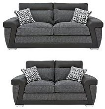 Geo Fabric And Faux Leather 3-Seater + 2-Seater