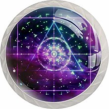 Geometric Art Blue Purple 4 Pieces Crystal Glass
