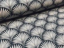 Geometric Damask Floral Fan Fabric Art Deco -