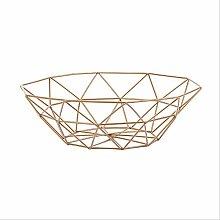 Geometric Fruit Vegetable Wire Basket Metal Bowl