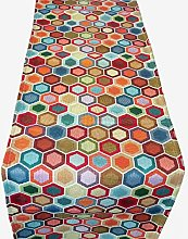 Geometric Multicoloured Honeycomb Tapestry Table