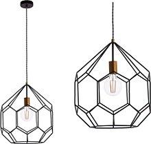 Geometric Pendant Light with Matt Black & Satin