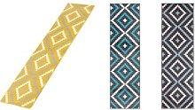 Geometric Tiles Design Runner Rug: Grey and