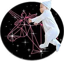 Geometric unicorn, Kids Nursery Rug Play Mat Round