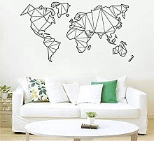 Geometric World Map Wall Stickers Vinyl Decals