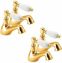 Georgian Basin Taps and Bath Taps, Gold - Deva