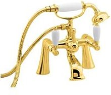 Georgian Pillar Mounted Bath Shower Mixer Tap Gold