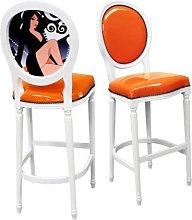 Georgian Tall Bar Chair In Orange With Fluted Legs