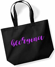 Georgina Personalised Shopping Tote in Black
