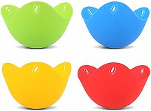 gerFogoo 4 Pcs Silicone Egg Poacher Cups, Colorful