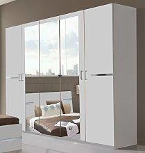 Germanica™ BAVARI 5 Door White Wardrobe With 3
