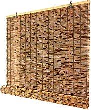GeYao Patio Bamboo Roll Up Blind, Brown Window
