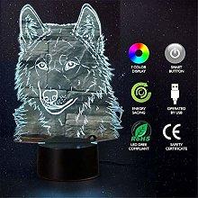 GEZHF 3D Illusion Animal Wolf Optical Night Light