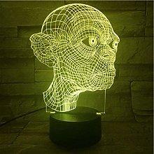 GEZHF 3D Illusion Lamp Led Night Light Gollum