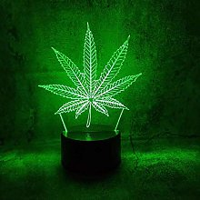 GEZHF 3D Illusion Lamp Led Night Light Marijuana