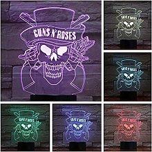 GEZHF 3D USB led Night Lamp Guns N Roses Band 7