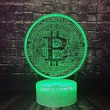 GEZHF Bitcoin 3D Lamp BTC Visual Led Lamp