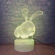 GEZHF Flashing 3D Animal LED Lamp 7 Color Variable