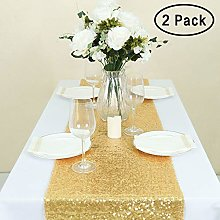 GFCC Sequin Gold Table Runner - Rectangle 2 Pack