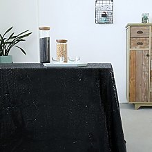 GFCC Sequin Tablecloth Black 72x72 Inch Table