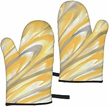 gfhfdjhf Yellow And Gray Petals Oven Gloves,Heat