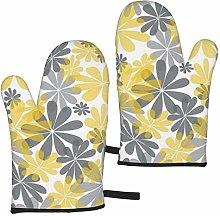 gfhfdjhf Yellow & Gray Flower Oven Gloves,Heat