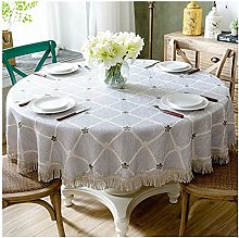 GFHH Luxury Table Cloth Round Table Cover Leaves