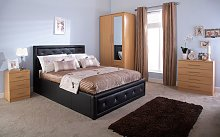 GFW Hollywood Faux Leather Ottoman Bed, Single,