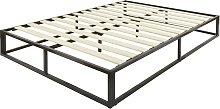 GFW Platform Metal Double Bed Frame - Black