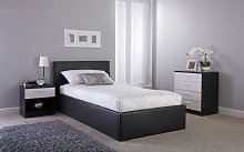 GFW Side Lift Ottoman Bed, Single, Faux Leather -