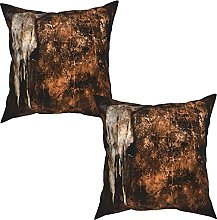 Gggo 2Pcs Cushion Covers background with cow skull