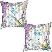 Gggo 2Pcs Cushion Covers Bird with Purple Flower