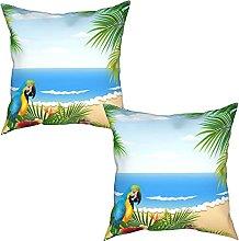 Gggo 2Pcs Cushion Covers card with tropical beach