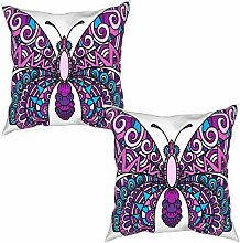 Gggo 2Pcs Cushion Covers color butterfly with