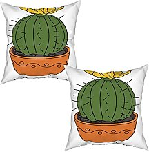 Gggo 2Pcs Cushion Covers Plant with Yellow Flower