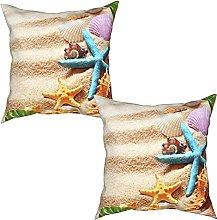 Gggo 2Pcs Cushion Covers sea shells with sand as